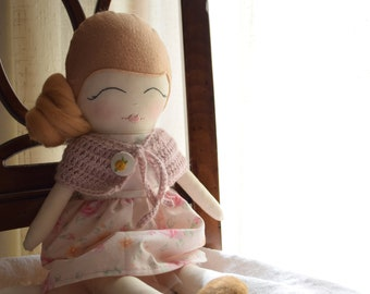 Cloth doll, doll with flower skirt, romantic doll, soft toy, communion gift, gift for her, rag doll