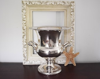 Silver Plate Champagne Bucket, Wm Rogers Silver Ice Bucket Wine Cooler Silver Barware, Roping Rope Design Silver Trophy Cup, Silver Planter