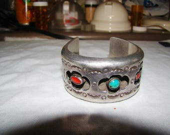 1-G Native American Sterling Shadow Box Bracelet