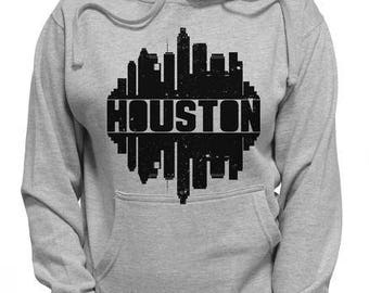 Distressed Houston Skyline Shirt | Vintage Houston City Silhouette Shirt | Space Center Skyscrapers Classic Skyline Hoodie