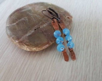 Blue Copper Earrings  - Blue Crystal Earrings - Copper Wire Wrap Earrings - Dangle Earrings - Tribal Earrings EA0010