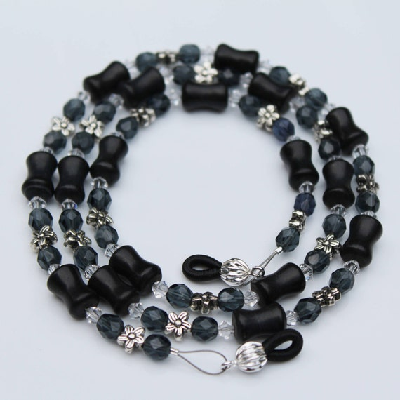 Gray Chain for Glasses, Grey Beads Glasses Chain, Dark Gray Eyeglass Chain, Black Beaded Eyeglass Chain