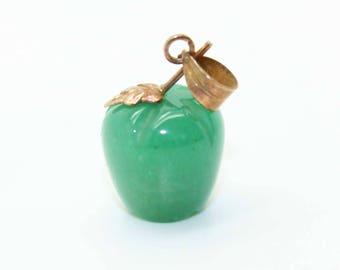 Adorable 14K Gold Carved JADE Green Apple Pendant for Necklace-Vintage Estate Jewelry-Teacher Gift!