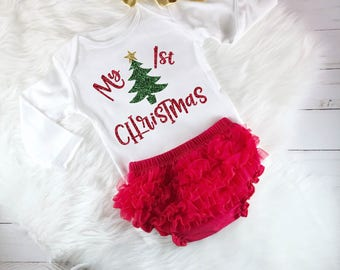 My 1st Christmas Baby Girl Christmas Outfit Baby's First Christmas Gold and Red Glitter Newborn Baby Shower Gift Christmas Bodysuit