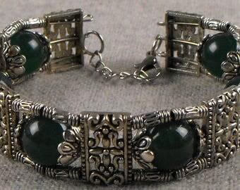 Silver and Jade Bracelet