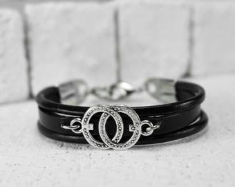Men Bracelet - Men Leather Bracelet - Men infinty Bracelet - Men Jewelry - Men Gift - Boyfriend Gift - Husband Gift -Gift For Dad - Male