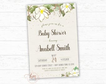 Magnolia Baby Shower Invitation, Gender Neutral Baby shower Invitation, Rustic Baby shower Invite, Floral Baby Shower Invite, PRINTABLE FILE