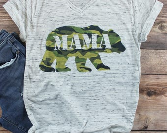 Mom Life Shirt/ Women's Graphic Tee/ Mom of Boys Shirt/ Mom of Girls Shirt/ Camo Shirt/ Mama Bear Shirt/ Mama Bear/ Pregnancy Shirt/ Baby