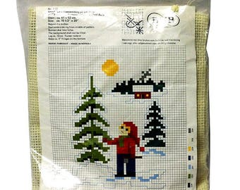 """B.M.B Emroidery Kit God Jul (Merry Christmas) Made in Norway 15.5"""" x 20"""" opened unstarted, complete"""
