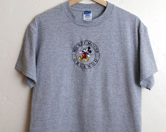90s Vintage Mickey Mouse Orlando T-Shirt Vintage Disney Embroidered Classic Mickey Gray T-Shirt Size Medium