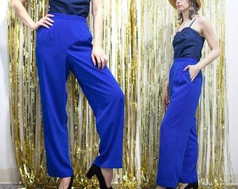 1980s 90s Blue Straight Leg Pants w Pockets // High-Waist Cobalt Slacks w Elastic Waist sz M / L