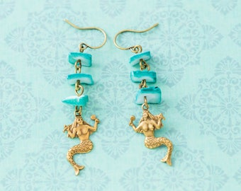 Mermaid Earrings with Turquoise Colored Chip Beads and Antique Brass, Mermaid Jewelry, Fantasy Jewelry, Nautical Earrings