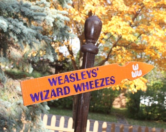 Weasleys' Wizard Wheezes Distressed Wooden Directional Sign - Made to Order