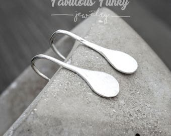 Brushed drops Earrings-925 sterling silver