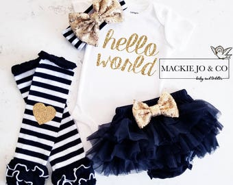 Hello World GOLD Glitter with Heart GOLD headband and Gold Legwarmer Set Birth Announcement Bodysuit