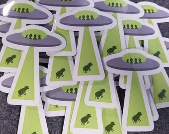 Cow abduction UFO vinyl sticker
