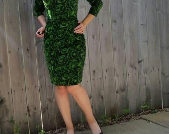 Vintage 1950s Green Velvet Satin Sash Collar Pencil Skirt Dress
