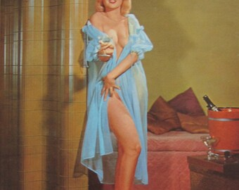 1950's Sexy Pinup Champagne Bubbles Calendar Art Print - Free Shipping