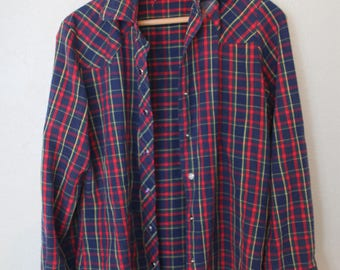 vintage red navy blue plaid western cut pearl snap button up shirt