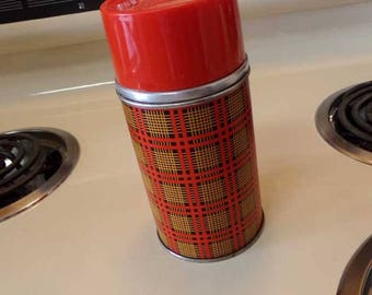 Vintage Thermos, red plaid thermos, Aladdin Thermos, 10 ounce thermos