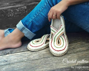 Crochet pattern- women twisted clogs with rope soles,soles pattern included,slip ons,shoes,loafers,scuffs,slippers,adult,cord,house shoes