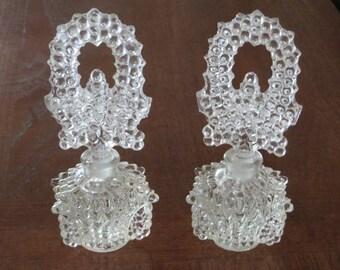 Vintage antique EAPG fancy pressed hobnail glass perfume bottle pair