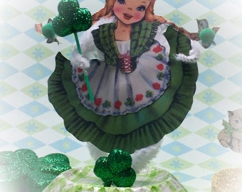 St. Patrick's Day Irish Lass Ireland Decor Vintage Style Bump Chenille Figure Shabby Chic Pipe Cleaner Paper Doll Figurine Paperdoll Gift