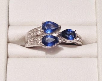 ON SALE - Kyanite and White Topaz Ring - Sterling Silver Size 7