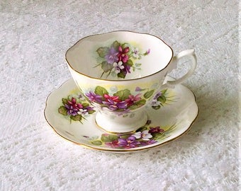 Royal Albert Purple Violet Floral Bone China Tea Cup and Saucer - Made in England