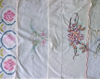 Lot of 4 Vintage Embroidered Pillowcases - Mismatched - White 100% Cotton - Floral Rose Edging Scallop Trim