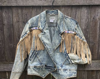 Beaded Leather Fringe Detail Acid Wash Denim Jacket
