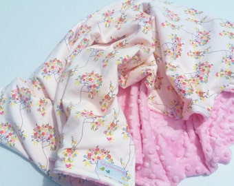 Pink Floral Minky Baby Blanket - Ready to Ship