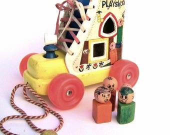 Vintage 1960s Playskool Wooden Old Woman Who Lived In Shoe With Wood Figures Lace up Pull Toy