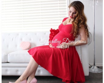 Sale! Cherry Red Maternity Friendly Swing Dress, The CHERI Multiway by Hardley Dangerous, Rockabilly Couture Pin Up, Casual Stretch Knit