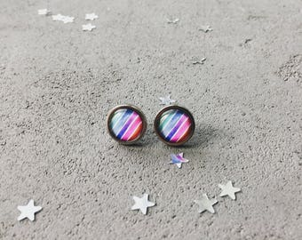 Stud earrings with colorful stripes, bright posts  by CuteBirdie