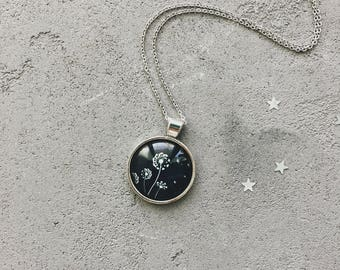 Cute necklace with dandelions on dark, black and white flowers pendant by CuteBirdie