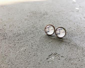 White marble stud earrings in pink and purple, CuteBirdie