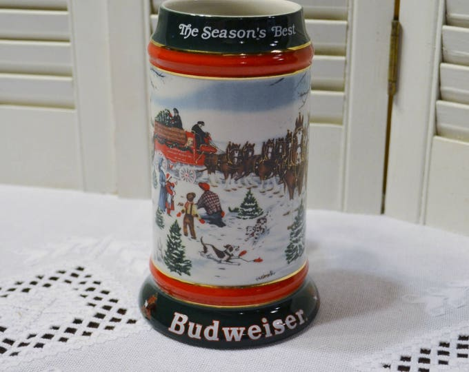 Vintage Budweiser Beer Stein Mug 1991 Christmas Winter Theme Anheuser-Busch Bar Decor PanchosPorch