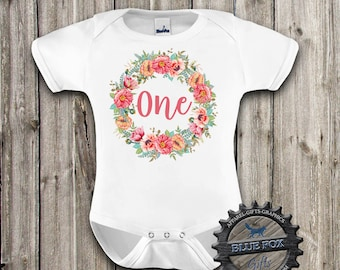 First Birthday Shirt, Floral birthday shirt, First Birthday baby clothes, Flower wreath with One, Cute birthday shirt, 1st Birthday, DGK_08