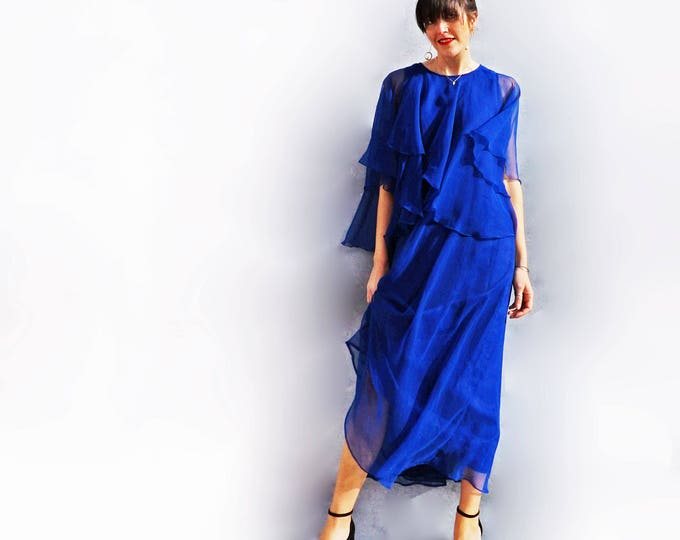 Jean Varon Dress, Cobalt Blue Dress, Vintage Dress, 1970s Dress, Maxi Dress, Evening Dress, Designer Dress, Boho Dress, Wedding Guest Dress