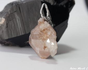 Elestial Quartz Pendant, Skeletal Quartz men's Necklace gift, raw crystal necklace Tibetan Quartz necklace Wire Wrap Quartz, Boyfriend gift