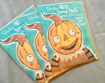 Turquoise Pumpkin Head Set of FOUR Blank Note Card with original art by Cortney Rector Designs