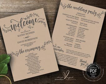 Rustic Wedding Program PDF card template, instant download editable printable, Ceremony order card in rustic floral theme (TED418_8)