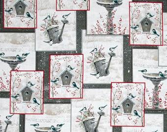 Bird House Fabric,  Bird Bath, Bird Bath, Winter Garden - by Sarah Summers - Quilting Treasures 26238  - Priced by the 1/2 yd