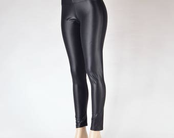 Leather-look Spandex Leggings & Flares  // Faux Leather Bell Bottom Pants