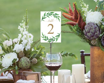 Greenery Table Numbers - Wedding Table Numbers - 4x6 Wedding Table Signs 1-40 - Reserved Sign - Head Table - Sweet Blooms - Instant Download