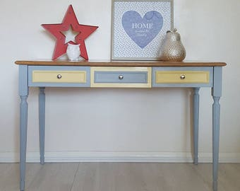 Solid Wooden Writing Desk - Hand Paint in Yellow & Grey - Bedroom and Office Furniture