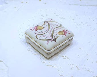 Hand Painted Floral Porcelain Trinket Box by Erika Lutz Halle, Made in Germany presented by Donellensvintage