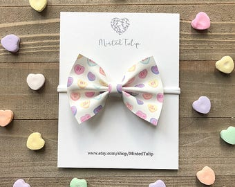 Conversation Candy Heart Print Faux Leather Bow on Nylon Headband or Alligator Clip Baby Toddler Kids