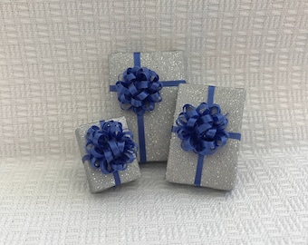 Sparkly Silver Gifts w Blue Bows